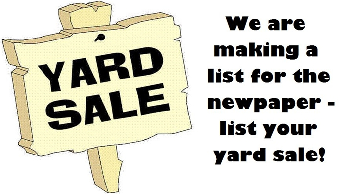 Sign Up For Yard Sale Ad by Noon, Thursday Sept. 10