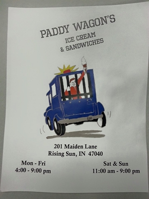 ICE CREAM AND OTHER TREATS AVAILABLE AT PADDY WAGON'S ON THE RIVER IN RISING SUN
