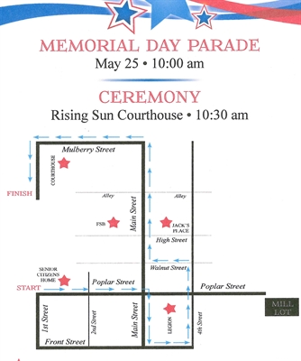MEMORIAL DAY PARADE & CEREMONY, MONDAY MAY 25 – 10:00 A.M.