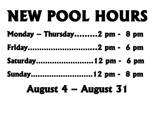 Back To School Means Shorter Pool Hours