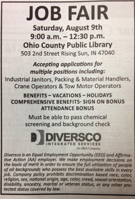JOB FAIR Saturday, August 9 at Ohio County Public Library